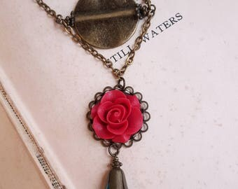 Boho chic Red flower jewelry Aqua crystal pendant Vintage inspired necklace