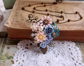 Antique inspired flower assemblage pendant necklace Rustic and shabby chic Pink and soft blue Mother's day gift