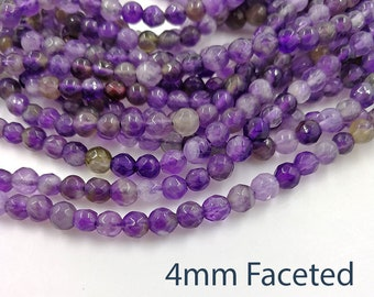 1 Full Strand 4mm Natural Amethyst Faceted Round Beads Faceted Amethyst Crystal Beads