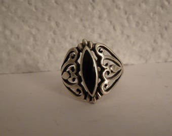 Sterling Silver and Black Onyx Ring - size 5 3/4