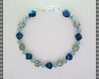 blue bracelet, Swarovski bracelet, light blue, crystal blue, blue opal, opal