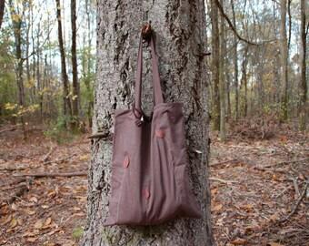Bag in chocolate brown fall fabrics + polymer clay