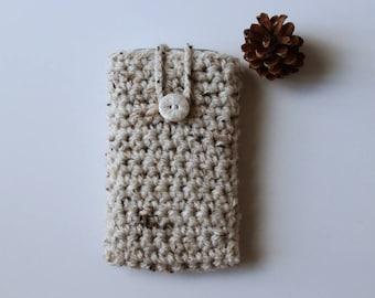 Housse pour smartphone beige clair + bouton flocon de neige en fimo