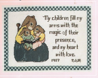 CROSS STITCH PATTERN - Mother Counted Cross Stitch Poem Chart - Rabbit Cross Stitch - Gift for Mom  - Vintage Cross Stitch