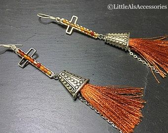 Gemstone Tassel Earrings, Silver Tassel Earrings, Gemstone Cross Earrings, Fringe Earrings, Tassel Earrings, Gemstone Jewelry, Festival Gift