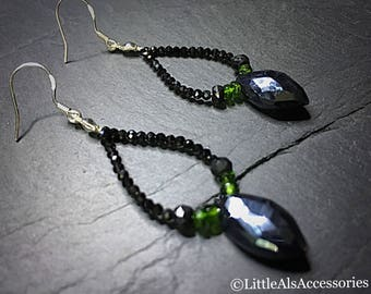 Black Spinel Earrings with Chrome Diopside, Teardrop Earrings, Black Sparkly Earrings, Black Beaded Earrings, Gemstone Earrings, Spinel