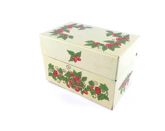 1960s Recipe Box, Strawberries Metal Recipe Box, Mid Century Kitchen, Syndicate Manufacturing Co.
