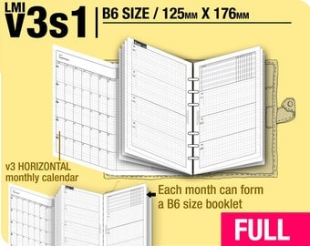 FULL [B6 v3s1 w/o daily] January to December 2018 - Filofax Inserts Refills Printable Binder Planner Midori.