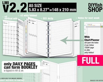 FULL [A5 v2.2 w DS1 do2p] January to December 2018 - Filofax Inserts Refills Printable Binder Planner Midori.