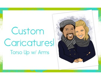 Custom Caricature-1 Torso up Digital Personalized Caricature-Caricatures-Gag Gift-Birthday-Anniversary-Engagement-Cartoons-Wedding Gift