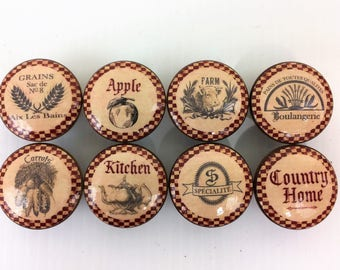 Set of 8 Country Kitchen Print Cabinet Knobs