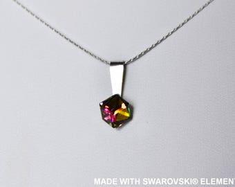 SWAROVSKI Crystal green pink yellow cube pendant / 925 sterling silver