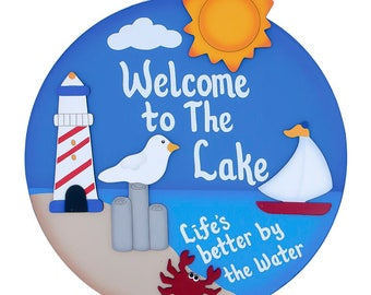 Welcome to the Lake wooden craft wall hanging sign Welcome to the Lake Nautical wooden circle shaped wall sign wooden nautical lake sign