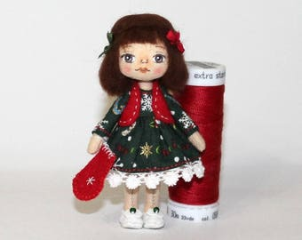 Doll with a Christmas boot Mini doll in a green dress Miniature cloth doll Tiny doll in box