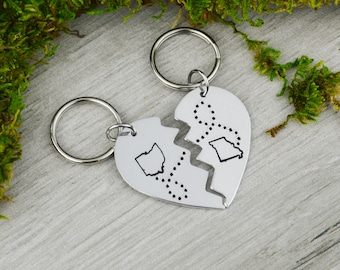Long Distance Besties Keychain Set • Long Distance Relationship Gift • Going Away Gift
