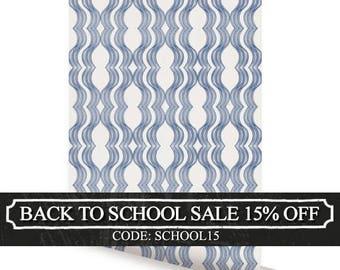 Wave Navy Peel & Stick Fabric Wallpaper Repositionable