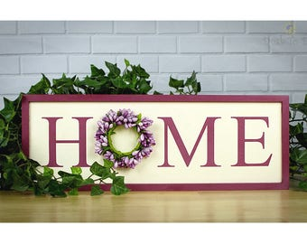 Traditional HOME Sign, Country Home Sign,  Farmhouse Home, Farmhouse Decor, Farmhouse Style, Pip Berry Wreath, Welcome Home, Entryway Sign