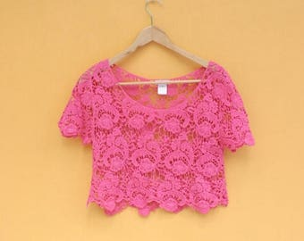 Rosey Posey Vintage Lace Crop Top~CLEARANCE ~ Flat Rate Shipping [Retro Punk Cute Short Sleeve Shirt]