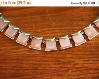 Vintage Art Deco Choker Necklace Light Pink and Silver Tone [Small Short Jewelry Geometric Square ] 13 inch-15 inch / 1/2 inch beads