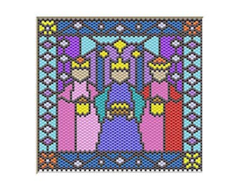 Three Kings Nativity pony bead banner pattern