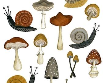 mushrooms & snails print