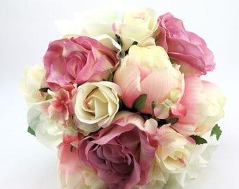 ON SALE Flower-girl Bouquet - Silk Rose Keepsake Bouquet for Flower Girl or Throwaway Bouquet