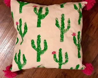 Stamped Canvas Throw Pillow with Cactus Print and Magenta Pom-Poms