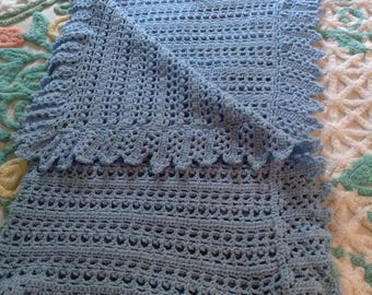 Hand Made Baby Blue Blanket/Afghan, 33 inches square