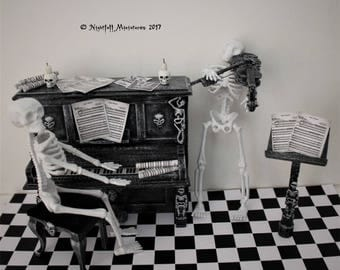 Dollhouse Miniature Gothic Spooky Skeletons Playing Danse Macabre in 1:12 scale