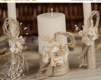 8% OFF Personalized Wedding Candle, Unity Ceremony, Pillar Candle, Rustic Unity Candle Set, Rustic Wedding, Lace and Pearl, Burlap Flower, I