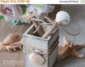 8% OFF Beach wedding Guest Book Pen and pen holder-  rope, shells and starfish - beach wedding nautical  Pen for Guest Book
