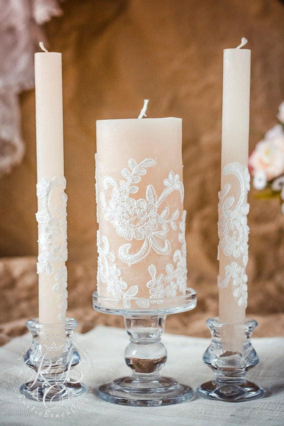 Lace Unity Candle Set Rustic Wedding Unity Candle Vintage