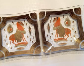 Mid Century Modern Trojan Horse Divided Glass tray In Orange and Gold by Fred Press