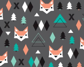 Fox Woodland Fabric by the Yard Geometric Fox Pine Trees Dark Gray Charcoal Organic Cotton Knit Minky Childrens Fabric 3426428