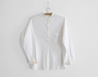 Vintage White Blouse - Pull Over - Stand up collar