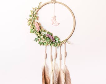 Fairy dreamcatcher, hippie boho dreamcatcher, fairy princess, mushroom dreamcatcher, nature wall hanging, moon dreamcatcher