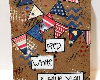 Patriotic Wall Art, Red, White and Blue Banners, Patriotic Decor, USA, Y'all