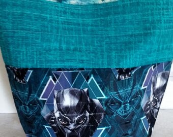 Black Panther Inspired WIP Tote Bag, Tribal insterior Zipper or Drawstring, Infinity War, Infinity Gauntlet