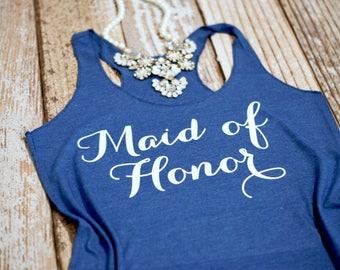 Maid of Honor Tank Top. Matron of Honor Shirt. Maid of Honor Shirt. Wedding Party Shirt. Maid of Honor tee. Bridal Party Tank.