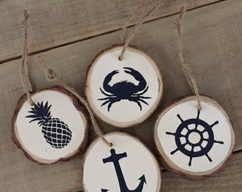 Coastal Ornaments • Set of 4 • Nautical Ornaments