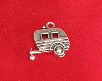 """BULK! 15pc """"trailer"""" charms in antique silver style (BC860B)"""