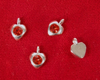 """BULK! 50pc """"ruby siam"""" color heart rhinestone charms in antique silver style (BC1349B)"""