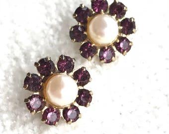 Faux Amethyst Pearl Flower Stud Earrings
