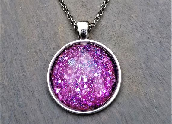 Pink Glitter Bomb Hand-painted glass pendant (Necklace or Keychain)
