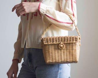 1950s Woven Basket Handbag