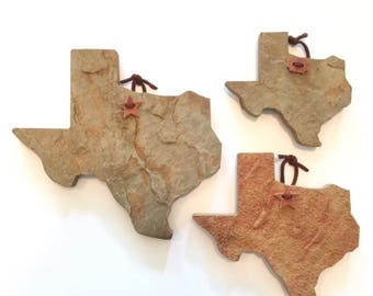 Texas Shape Trio flagstone Wall Decor, Coaster, trivet, Christmas gift