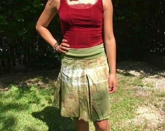 Cotton,tie-dye skirt,summer skirt,green summer skirt,small
