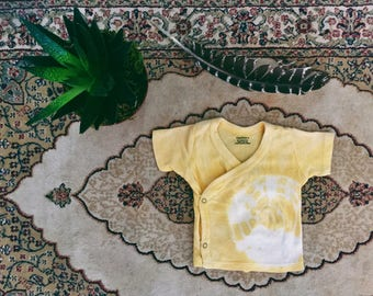 3 FOR 25 DOLLARS ~ Natural Hand dyed OOAK 0-3 Tumeric Kimono Top