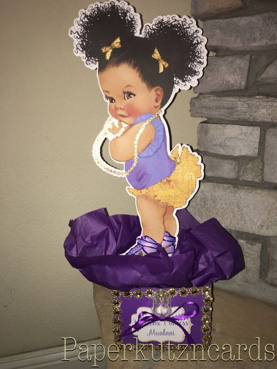 Afro Puff Baby African American Baby Purple Gold Baby