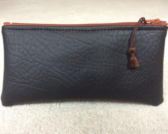 Pouch, case, black faux leather clutch